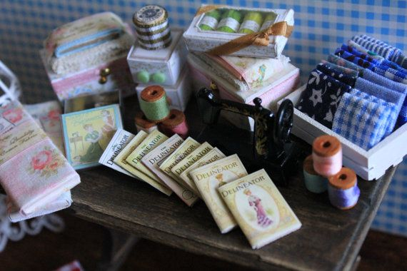 Dollhouse miniature sewing magazine's set by Lilliputstreasures