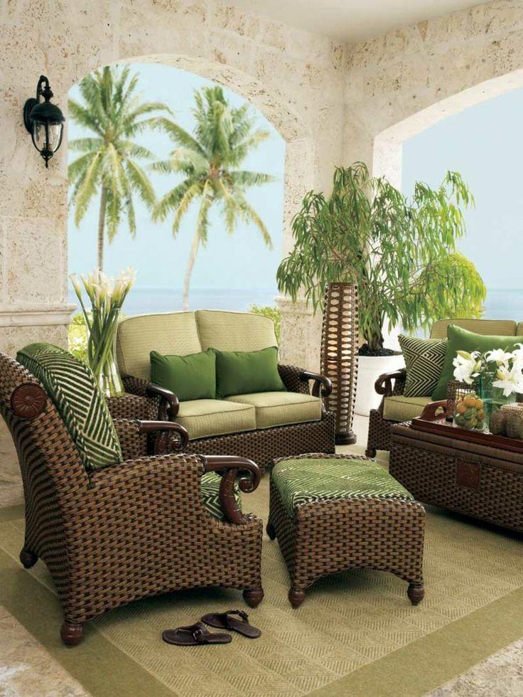 Muebles de rattan marron y verde muebles de ratan y mimbre junco pinterest best porch and - Muebles de patio ...