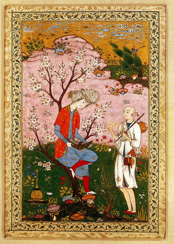 گفتگوی درویش و جوان، نگارگر ناشناس، خراسان، حدود 1590 میلادی Youth And Dervish In Conversation Geography Iran Period Safavid, circa 1590 CE Dynasty Safavid Materials and technique Opaque watercolour and gold on paper Dimensions Page 32.2 x 20.2 cm; Image 19.9 x 12.7 cm