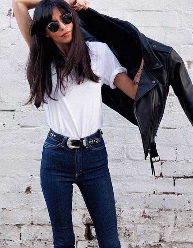 Leather Biker Jacket   White Tee   Skinny Indigo Jeans   Denim   Western Belts   Bangs   Ray Bans