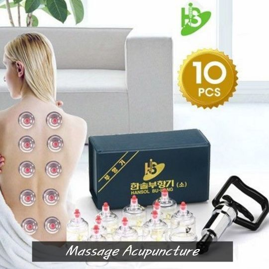 [HANSOL] CUPPING SET 10CUPS Slimming CUPPING Massage Acupuncture, Vacuum Therapy #Hansol