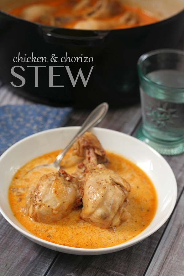 Easy low carb comfort food with fall-off-the-bone tender braised chicken and spicy chorizo.