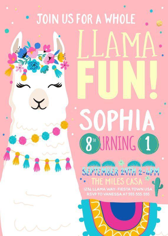 llama birthday invitation  a whole llama fun  llama party