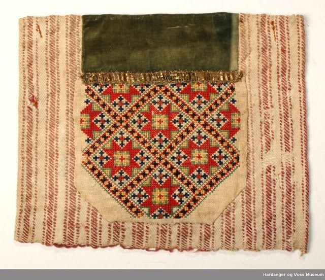 FolkCostume&Embroidery: cross stitched Bringeduk, Bodice insets from Hordaland, Norway