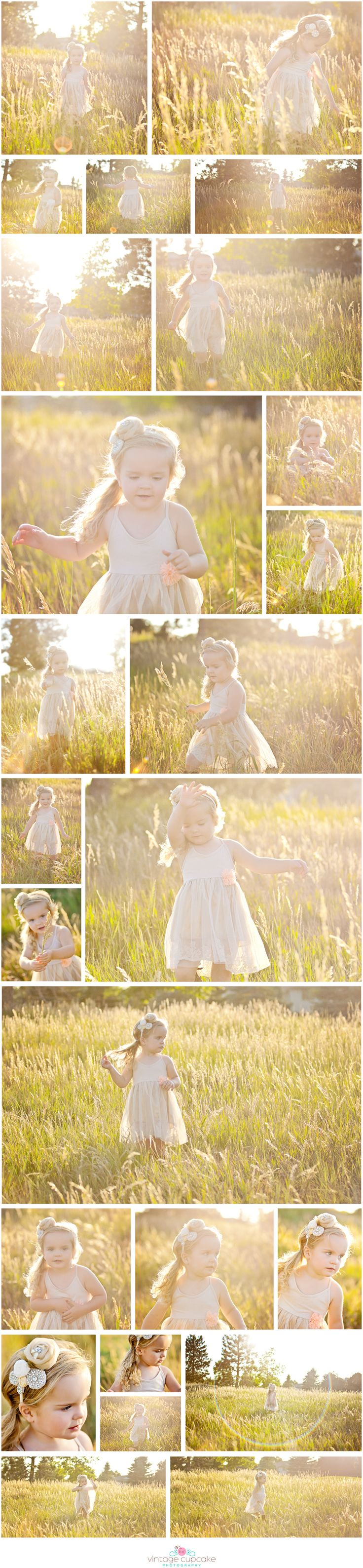 Toddler girl in vintage dress in open field. Denver, Colorado Child Photographer - The Vintage Cupcake Photography