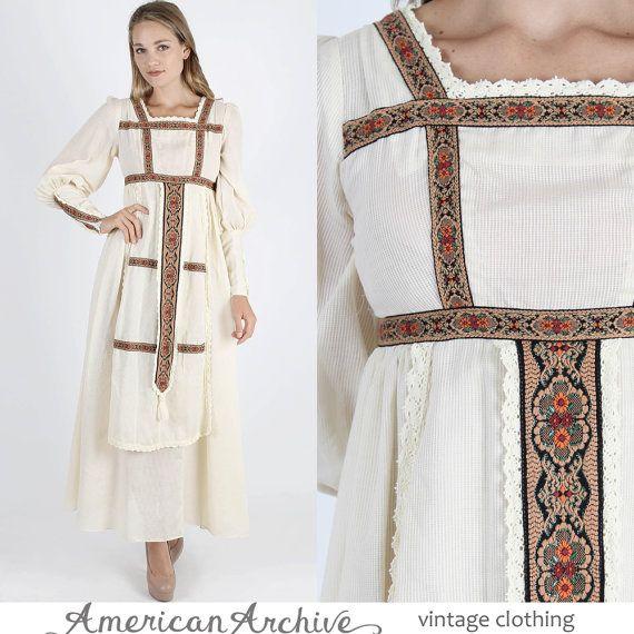 Gunne Sax robe Prairie robe Boho mariage robe Boho robe Maxi robe Vintage des années 70 Boho mariage Hippie Prairie Renaissance Floral Maxi
