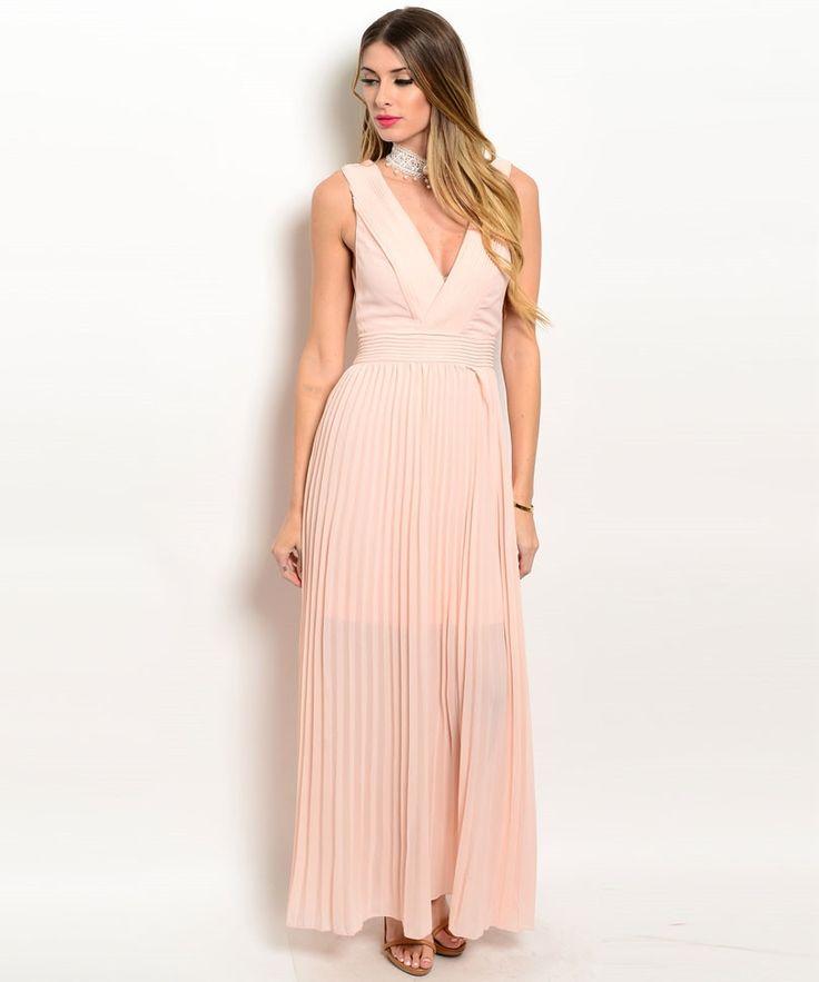 Peach Chiffon Open Back Maxi Dress