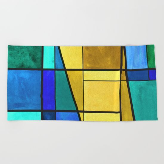 Abstract, modern, pattern, geometric, colorful Beach Towel
