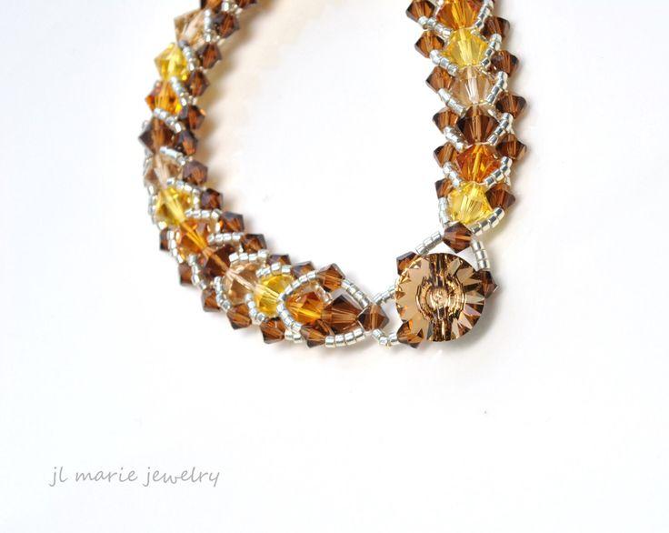 november birth stone bracelet . swarovski crystal . topaz . bronze . gold . orange . brown . gift idea . november birthdays by jlmariejewelry on Etsy https://www.etsy.com/listing/119987307/november-birth-stone-bracelet-swarovski
