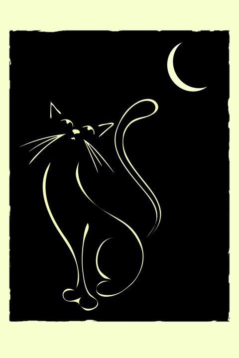 Would make a cute tattoo. Cat & Moon. Elegant illustration of a cat, inspired by Lautrec and Art Deco illustrations.