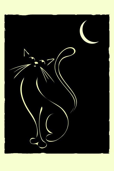 Cat & Moon. Elegant illustration of a cat, inspired by Lautrec