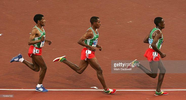 Haile Gebrselassie, Kenenisa Bekele and Sileshi Sihine of Ethiopia lead the…