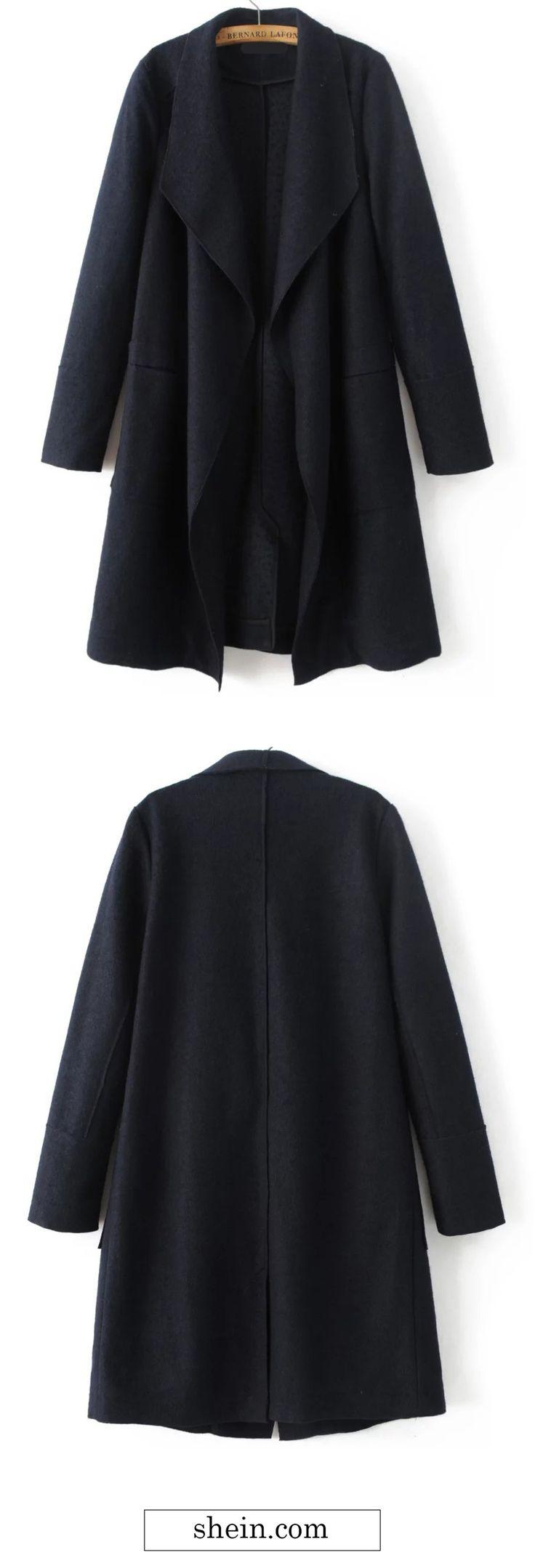 Black Waterfall Collar Wool Blend Coat