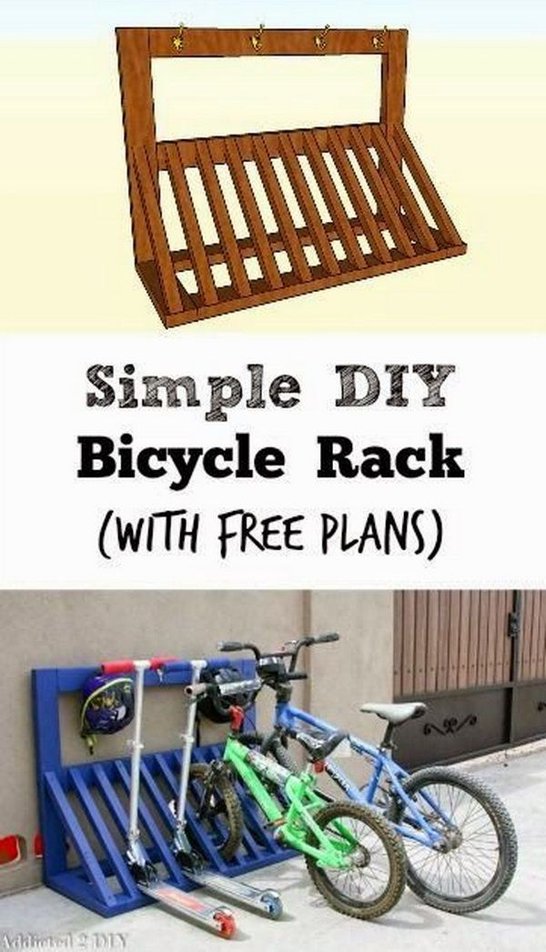 YES PLEASE. The boys' bikes are a disaster. DIY Pallet Bicycle Rack.