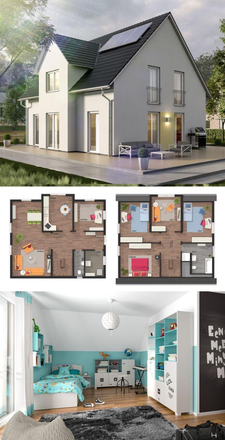 Modernes Einfamilienhaus klassisch Grundriss mit Querhaus & Satteldach Architektur – Massivhaus bauen Ideen LICHTHAUS 152 von Town & Country Haus – Ha