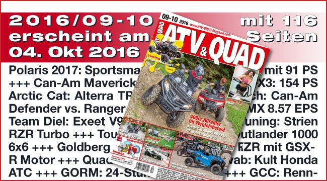 ATV&QUAD Magazin 2016/09-10 ATV&QUAD Magazin 2016/09-10 erscheint am 04. Oktober 2016, und das einmal wieder mit vielen top-aktuellen Beiträgen +++ Vergleichstests: 400er Allradler und High-End UTVs +++ Messe: ATV&QUAD auf der Intermot 2016 +++ http://www.atv-quad-magazin.com/aktuell/atvquad-magazin-201609-10/ #quadmagazin #zeitschrift #atvquadmagazin #fachzeitschrift