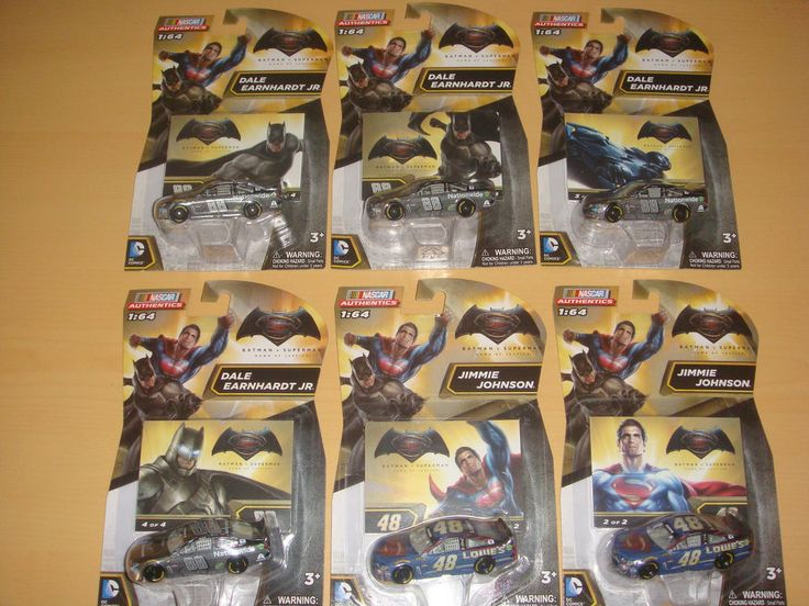 Lot de 6 Miniatures 1/64  Nascar authentics  Batman v Superman DAWN OF JUSTICE