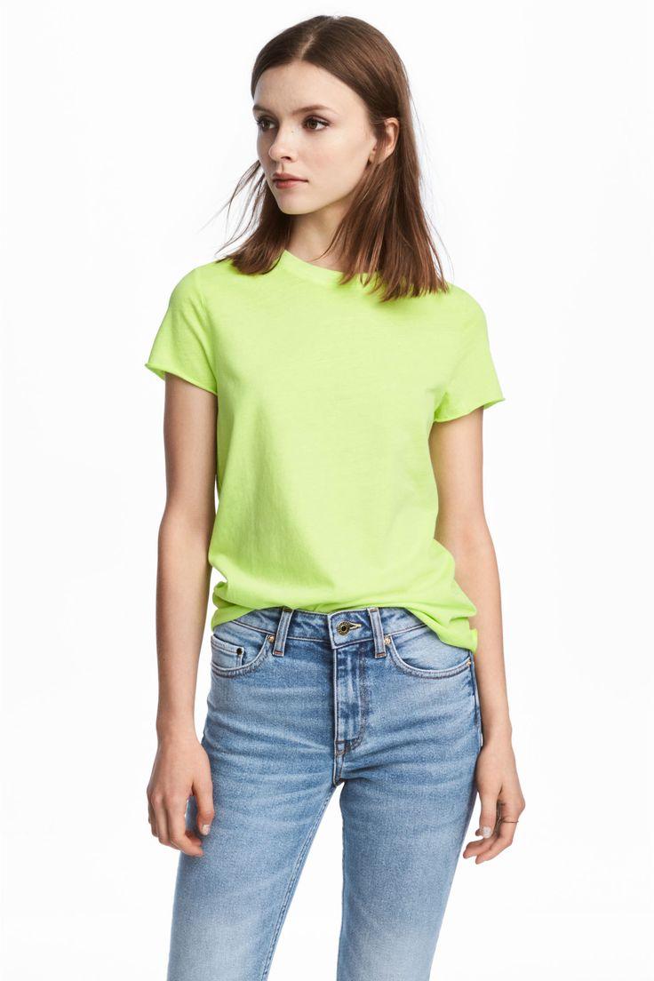 Cotton T-shirt - Lime green - Ladies | H&M GB