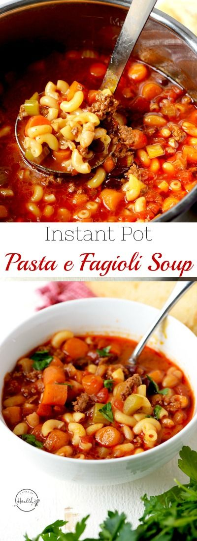 Instant Pot Pasta e fagioli soup is so hearty, healthy and delicious. Perfect one pot family dinner that everybody goes crazy for! | APinchOfHealthy.com