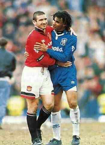 Eric Cantona and Ruud Gullit after the 1996 Man Utd v Chelsea FA Cup Semi Final at Villa Park.