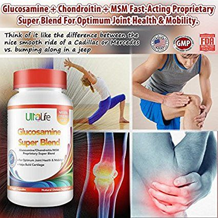 Amazon.com: Best All Natural Anti Inflammatory Joint Pain Relief Complex -- UltaLife's #1 Proprietary Super Blend of Glucosamine + Chondroitin + MSM Recommended For Enhanced Joint Health & Mobility -- Potent Combination of 3 Proven Ingredients That Help Build The Cushy Cartilage That Serves as a Shock Absorber for Your Joints --It Works Or Your Money Back Guaranteed: Health & Personal Care