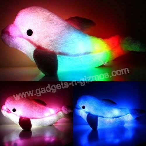 Animal Pillow That Lights Up : glow up pillow pet LED Dolphin Shaped Light Up Pillow Glowing Moonlight ... Pillow Pets ...