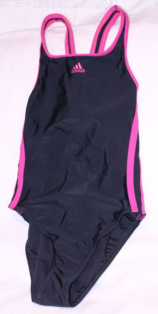 ADIDAS GIRLS INFINITEX 3 STRIPES RACE BACK TOGS SWIMSUIT SIZE 8 BLACK PINK RP$60 #ADIDAS
