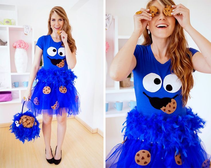 Last Minute Diy Halloween Costume Ideas For Women Kids Couples Midwest Is Home Blog Cookie Monster Costume Cookie Monster Halloween Costume Monster Costumes