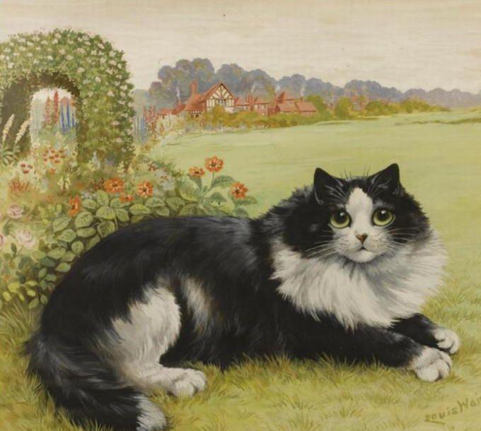 The cat in his garden - Wain Louis