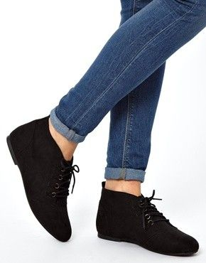 New Look | New Look Wide Fit Beaky Lace Up Flat Ankle Boots at ASOS