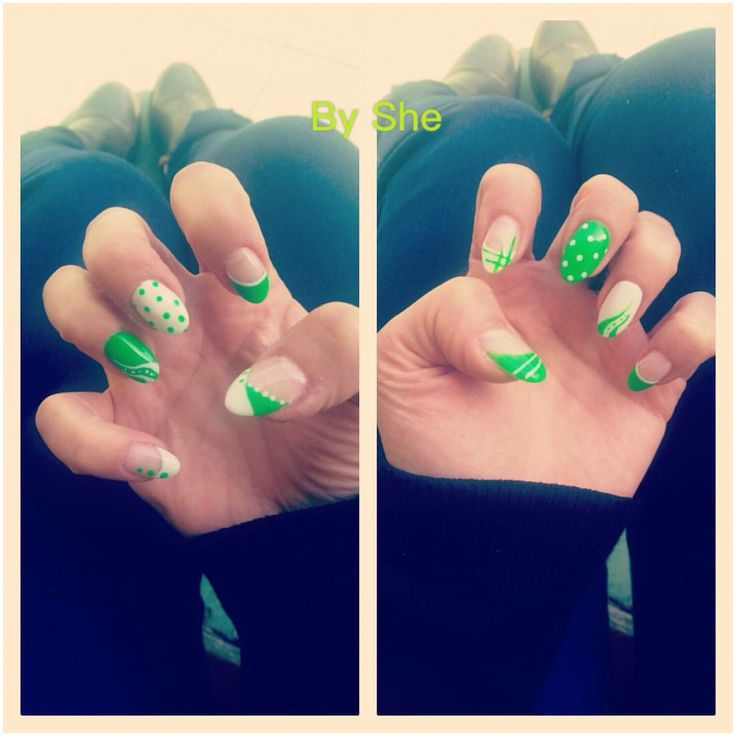 Nails#verde&bianco #estate
