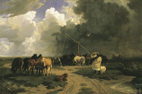 """Lotz Károly """"Ménes a zivatarban"""" (1862)"""