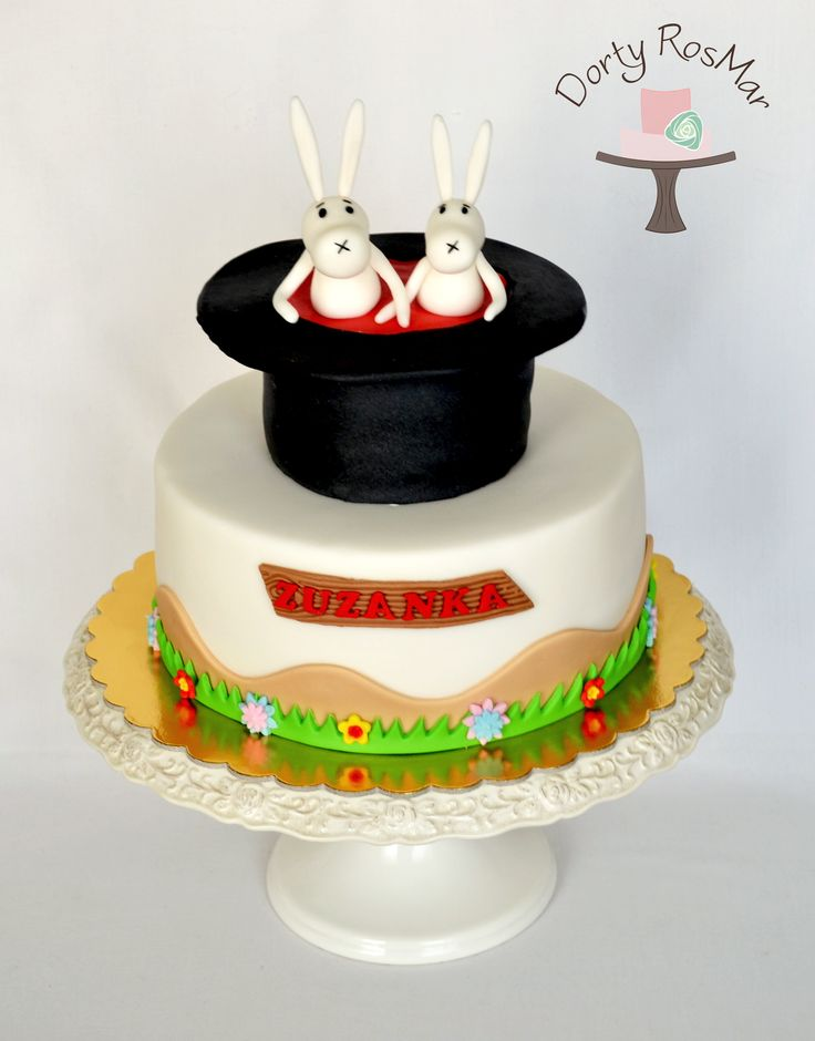 Rabbits out of a hat Bob and Bobek cake