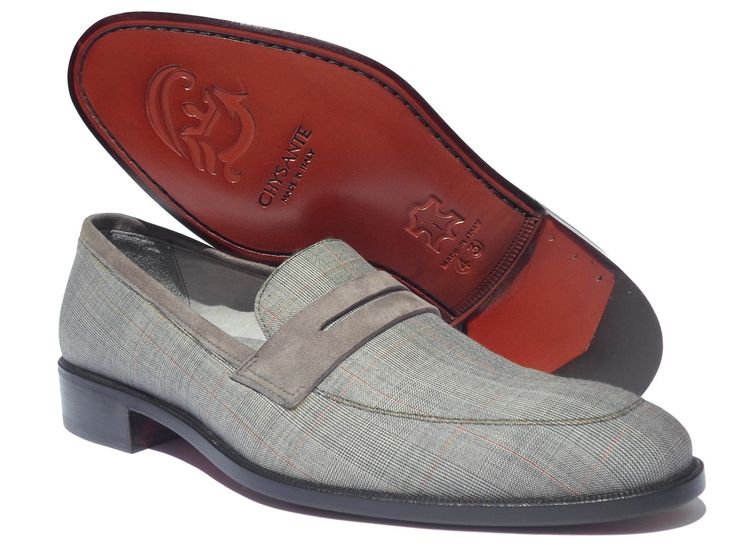 Mod. Living Loafers  prince of wales fabric  Sole and heel leather.  www.chysante.com