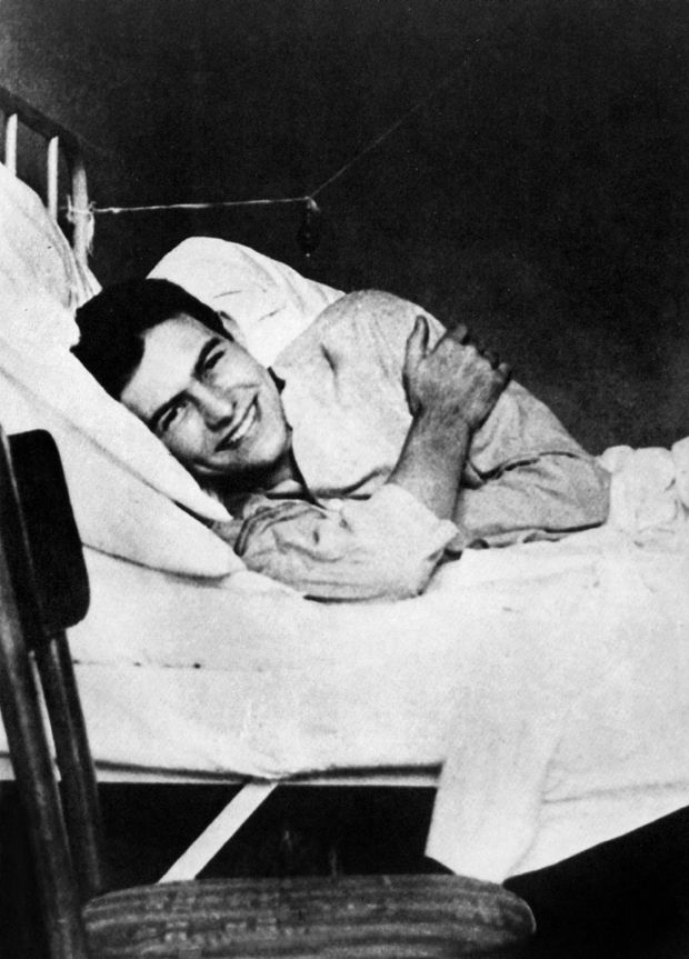 A young Ernest Hemingway in hospital during the war