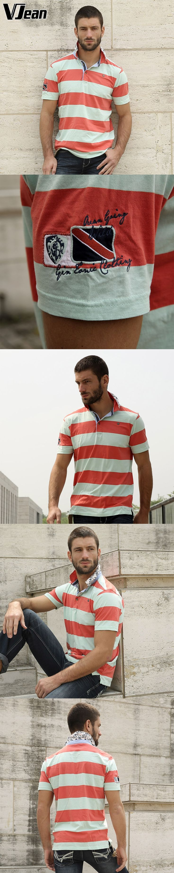 V JEAN  Men's Casual shirt Striped  Polo Shirt  100%cotton plush size camisa polo yarn dyed   Washed