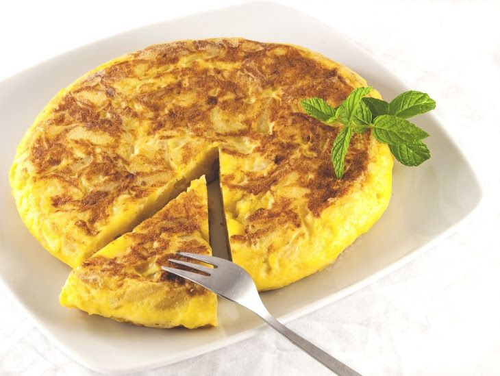 Spanish Omelette Recipe Breakfast and Brunch with extra-virgin olive oil, yukon gold potatoes, yellow onion, salt, pepper, large eggs