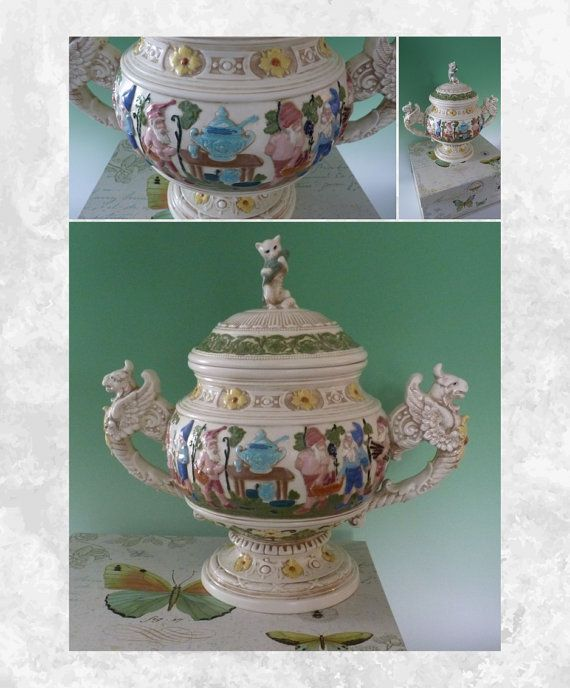 Antique Victorian German Majolica Stoneware with cat, gnome / elves - fairy tale pottery punch bowl or tureen