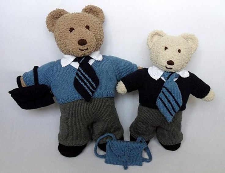 More Teddy Bear Clothes for my Cuddle and Snuggle Bears here is a school Uniform for the boys.The pattern includes instructions to fit both sizes and there are trousers, a shirt, a V neck jumper, tie, shoes and a satchel backpack.These clothes fit both my Cuddle and Snuggle bears and my Big Berry and Berry Bears and the smaller size fit my daughters Bear Factory and Build a Bear, Bears too.Smaller size fits bears approx 43cm tall with a 44cm tummy and the Larger size fits bears approx 50cm…