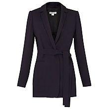 Buy Whistles Belted Soft Crepe Jacket, Navy Online at johnlewis.com