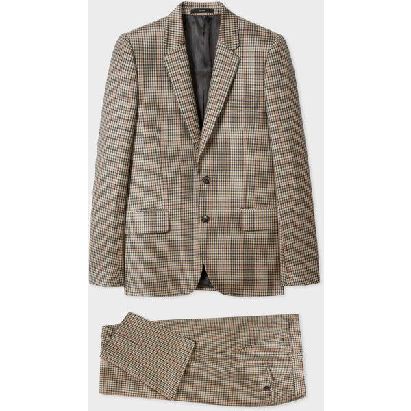Paul Smith The Soho - Men's Tailored-Fit Taupe Check Wool Suit (44.030 RUB) ❤ liked on Polyvore featuring men's fashion, men's clothing, men's suits, taupe, mens wool suits, mens suits, mens tailored suits, paul smith mens suits and mens checkered suits