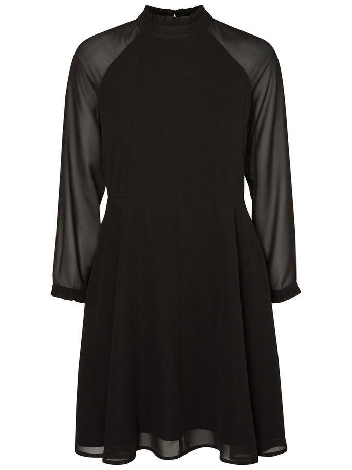 FEMININ LANGÆRMET KJOLE, Black, large