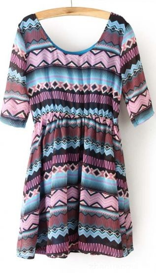 Purple Half Sleeve Geometric Stripes Elastic Waist Dress