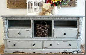 From old dresser to TV console. Clever and a great way to recycle!