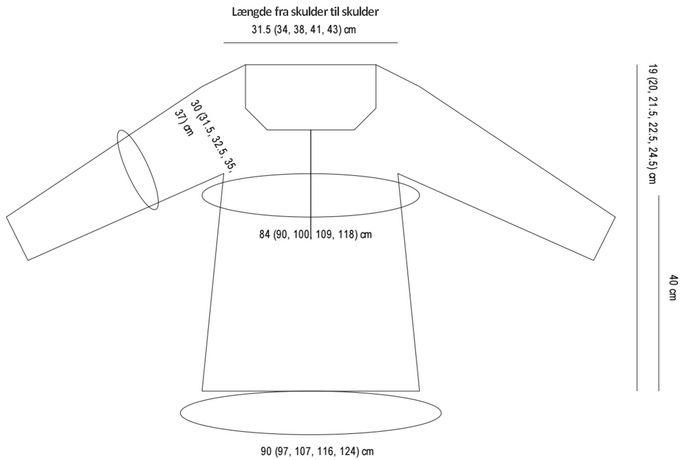 Dejlig grundsweater med en fin pasform. Den strikkes oppefra og ned, og ærmerne er strikket til uden sammensyninger (contiguous sleeves).