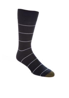 Gold Toe  Textured Simple Stripes Crew Socks- Single Pair