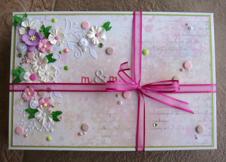 A gift box decorated by 7 DOTS STUDIO paper from The Messy Head collection