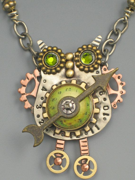 Clockworks Hooty Owl Necklace - Steampunk Jewelry - Steampunk Owl Necklace -