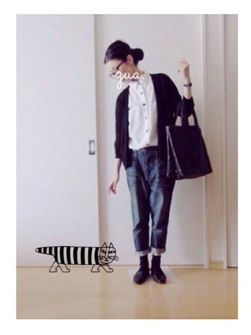 knit ↟ uniqlo shirt ▵ jeanasis denim ↟ nano universe shoes ↟ margaret howell bag ▵ handmade