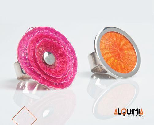Anillo Plata Crin Flor Grande - ANIP044. Anillo Plata Crin 3cm - ANIP030.